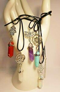 Natural Quartz Chakra Crystal Healing Gemstone Pendant Necklace Amulet Reiki Om
