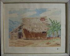 J.H.Alsleben ° Antique Cabane En Südlicher Paysage Sous Palmiers Méditerranéen