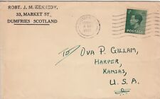 R 2443 Dumfries Scotland May 1937 PP rate to USA; 1/2 KEVIII stamp solo usage