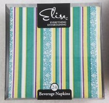 ELISE Guest Cocktail Beverage Napkins PK/24 Peacocks Inline Striped Turquoise