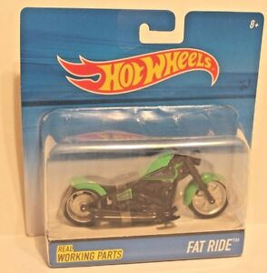 Hot Wheels Fat Ride Green & Black Motorcycle 1:18 Scale with Working Parts NEW