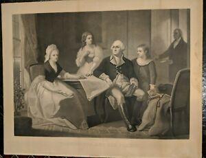 George Washington and His Family - Engraving Print - William Sartain Engraver
