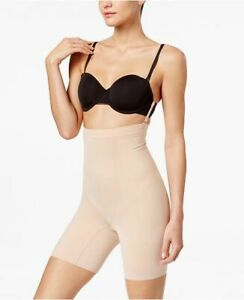 SPANX High-Waisted Mid-Thigh Short in Nude SS1915 L $72 NWT