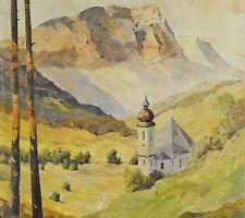M. Mühlbeck, München (XX) antik Alpen-Gemälde: KAISER´S KIRCHE IM LECHTAL,
