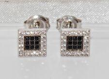 9ct White Gold Black & White Diamond Square Stud Earrings - Men's or Ladies