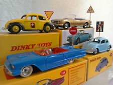 DINKY TOYS BY ATLAS & DEAGOSTINI, 4x VEHICLES IN BOXES + ROAD SIGNS, ALL MINT.