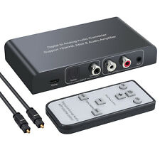 Optical Coaxial Toslink Digital to Analog Audio Converter RCA L/R 3.5mm + Remote