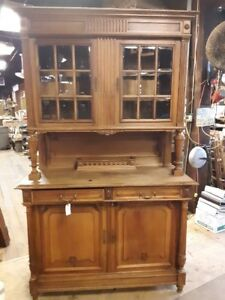 Antique Cherry? Hickory?Cupboard China Cabinet Stepback Cupboard Beveled Glass