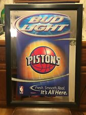 New Rare Detroit Pistons Beer Budweiser Bud Light Mirror 30 1/2 x 22 1/2