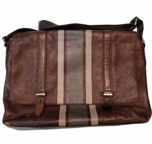 Fossil Leather Laptop Messenger Bag Briefcase Brown Striped