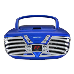 Sylvania Portable CD Boombox with AM/FM Radio, Retro Style, Blue SRCD211-BLUE