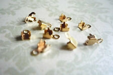 10 Brass Rhinestone Chain Connectors - 3mm Crimps for 2mm Size Chain