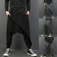 Mens Fashion Casual Drape Drop Crotch Pants Drawstring Hippie Gym Baggy Trousers