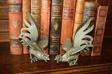 Antique Pair French Silvered Brass Fighting Roosters Table Decor