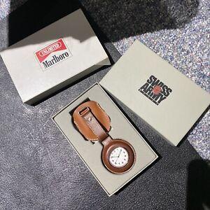 Marlboro  Swiss Army Men's Pocket Watch With Leather Case Brand New Mint !