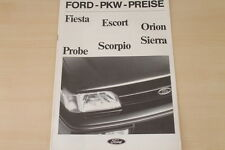 177020) Ford Fiesta Escort Orion Probe Scorpio - Preise & Extras - Prospekt 09/1
