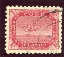 Cook Islands 1898 QV 1s red/thin toned paper very fine used. SG 20.