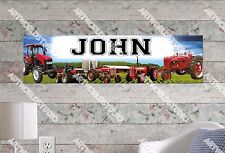 Personalized/Customized Red Tractors Name Poster Wall Art Decoration Banner