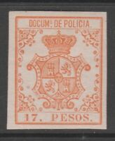 Spain Antilles Police Revenue Fiscal stamp 4-24-21-5j hinged gum