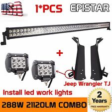 "50"" 288W LED Light Bar+2X 18W Pods+Mount Brackets For Jeep Wrangler TJ 1997~2006"