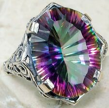 7CT Color Changing Rainbow Topaz 925 Solid Sterling Silver Ring Sz 8, F6-10