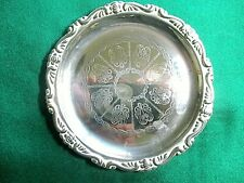 Vintage small silver plated 1950's/60's decorated dish - - Hong Kong