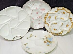 4 Antique Porcelain Oyster Plates Limoges Austria +