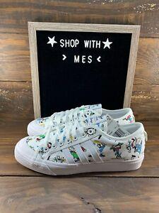 ADIDAS MENS Shoes Nizza Disney Sport Goofy - White, Scarlet & Black - FW0645- NE
