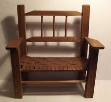 Vintage Wooden Chair Bench DOLL BEAR SIZE Cane Woven Seat Primitive Country Chic