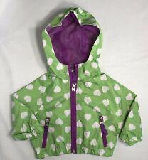 9c4323ee847 Pink Platinum Girls 3-6 Months Green Hooded Heart Print Zip Raincoat Jacket
