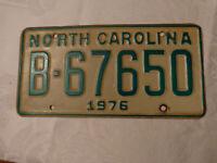 1976  NORTH CAROLINA NC LICENSE PLATE TAG B-67650 VINTAGE ORIGINAL