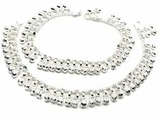 "Jingle Bells Solid Silver Anklets Ankle chain Bracelet Kids Children's 7.2"""