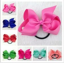 5 Inch High Quality Ribbon Hair bow with Elastic Band Hair Bobble Hairband