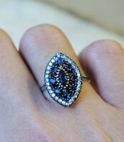 Turkish Handmade Jewelry Sterling Silver 925 Sapphire Set Ring Size 6,7,8,9
