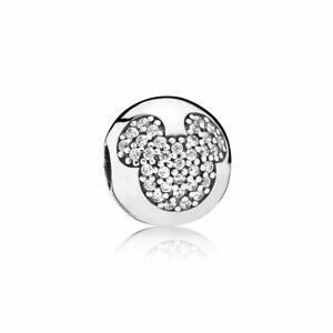 NEW Genuine Pandora Mickey Mouse Clip 791449CZ Disney Charm Sterling Silver ALE