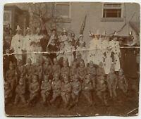 Pierrot clowns , Children in military uniform , Australia ? Vintage Photo