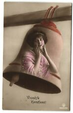 merry Christmas Lady in large bell Dutch photo postcard