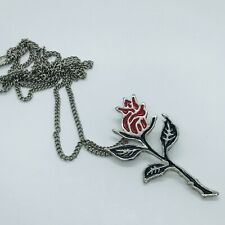 Silver Tone Stamped Korea Rose Pendant Long Chain Necklace