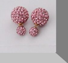 925 STERLING SILVER PLATED GOLD DOUBLE SHAMBALLA CRYSTAL BALL STUD EARRINGS UK
