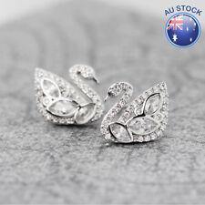 Fashion Women 925 Sterling Swan Silver Crystal Stud Earrings Jewelry Stunning