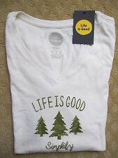 "NWT Life is Good.®_Women's Classic Fit  ""Simplify Tree""  L/S V-Neck Tee (M)"