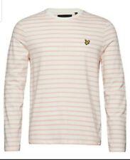 BNWT Lyle & Scott Breton Stripe Long Sleeve T-Shirt Coral Pink White XL RRP £40