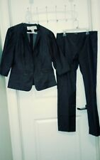 2 Pc DONCASTER Pants Suit Women Sz 6  GRAY cotton blend 30 x 28.5