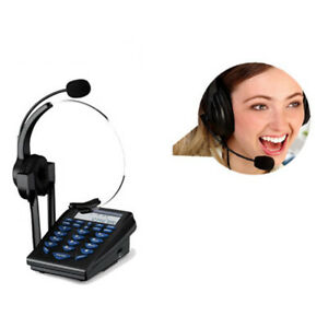 HT310 Office Telephone w/ Corded Headset Headphone Call Center Phone Tone Dial