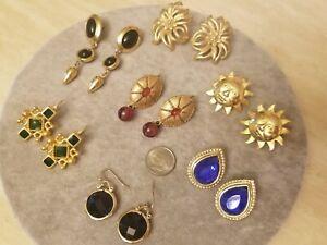 Matte Gold Tone Pierced Earrings Lot - TRIFARI, VENUE, - Vintage