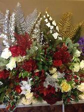 12x Artificial Christmas Bunches Sprays Joblot Silk Flowers Holly Bush Clearance