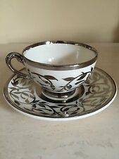 Myott Sons England Old Silver Lustre Hand Painted Tea Cup & Saucer