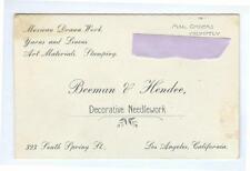 ca1900-20 Decorative Needlework BEEMAN HENDEE business card Mexican Drawn Work