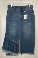 NEW Luxe Moda Jean Fringe Womens Long Front Slit Skirt NWT Size 10 MSRP $118