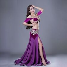 Luxury Velvet Rhinestones Bra Top+Long Skirt 2pc set  Belly Dance Costumes WZ